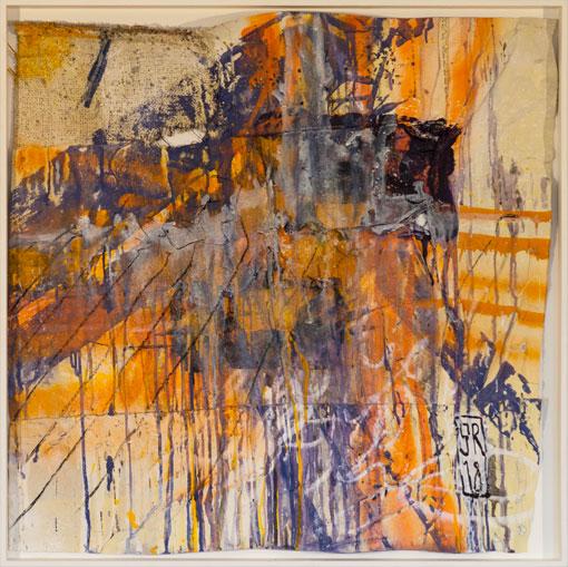 Leere - über:FLÜSSIG - Sigurd Roscher - mixed media auf gemischten Stoffen in Objektrahmen 80 cm x 80 cm - Ausstellung im Kunsthaus Obernberg am Inn 2018