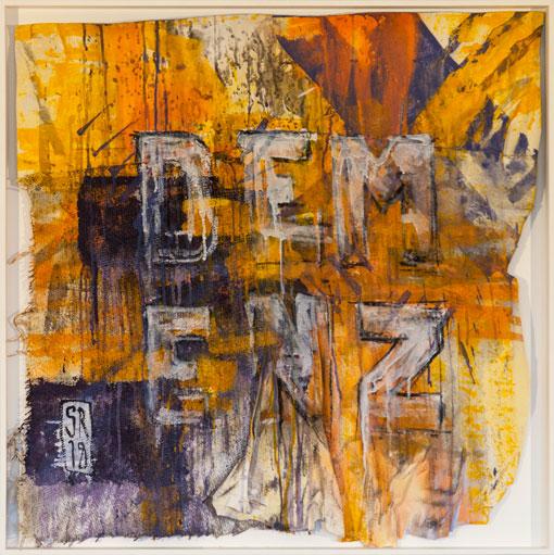 Demenz - über:FLÜSSIG - Sigurd Roscher - mixed media auf gemischten Stoffen in Objektrahmen 80 cm x 80 cm - Ausstellung im Kunsthaus Obernberg am Inn 2018