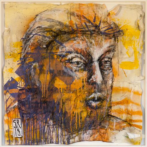 Donald Trump - über:FLÜSSIG - Sigurd Roscher - mixed media auf gemischten Stoffen in Objektrahmen 80 cm x 80 cm - Ausstellung im Kunsthaus Obernberg am Inn 2018