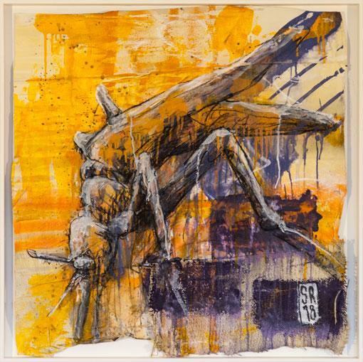 Mücke - über:FLÜSSIG - Sigurd Roscher - mixed media auf gemischten Stoffen in Objektrahmen 80 cm x 80 cm - Ausstellung im Kunsthaus Obernberg am Inn 2018