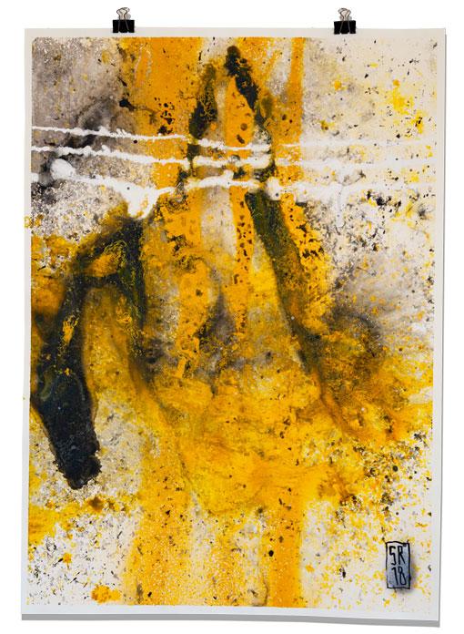 Trocknungsstudie mixed media auf Papier 50 cm x 70 cm Sigurd Roscher 2018