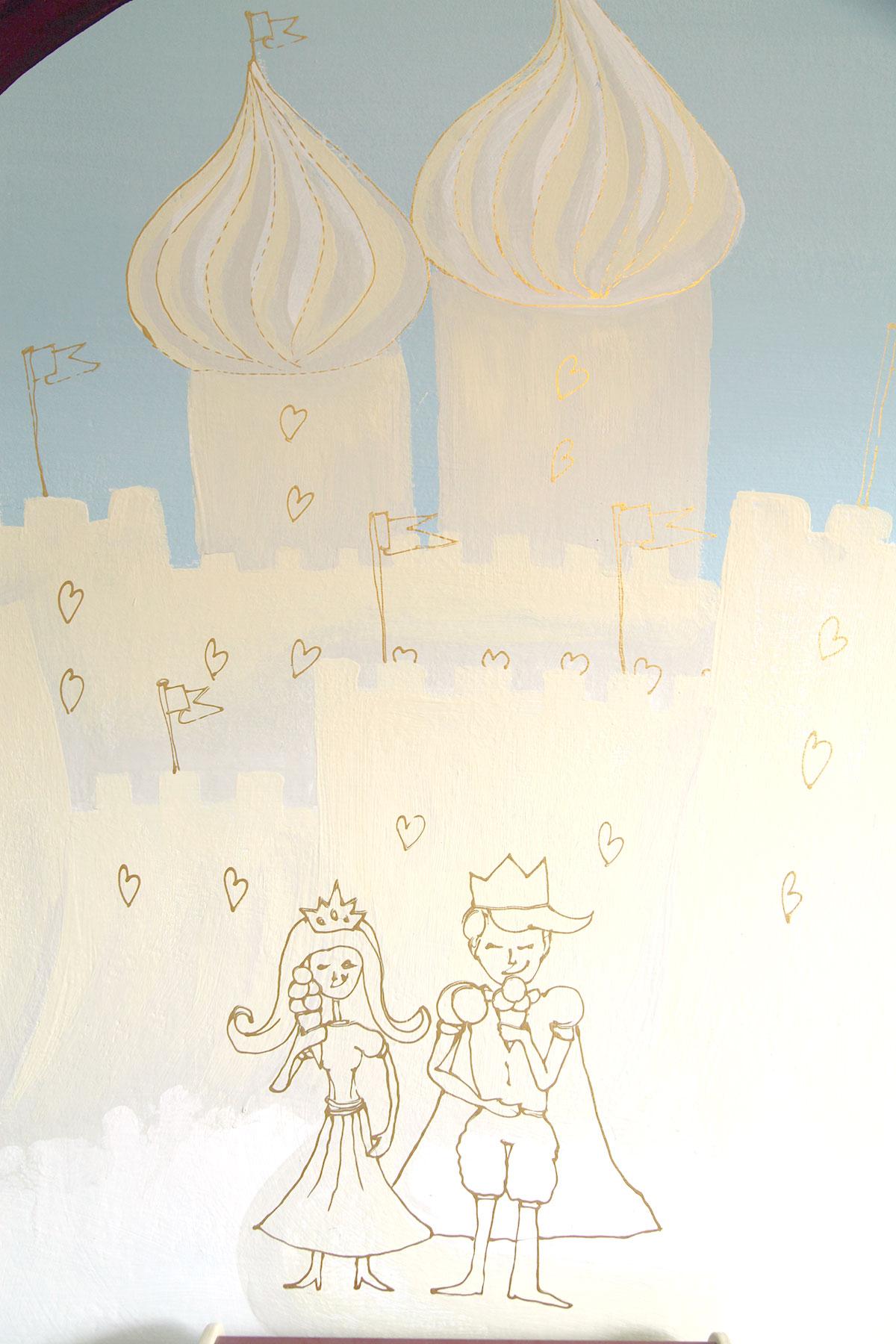 Prinzessin und König schlechen Eis. Kinderzimmer Wandgestaltung