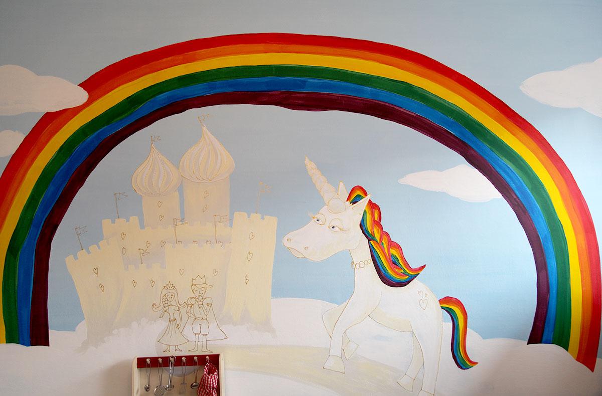Einhorn Regensbogen Schloss Prinzessin und König Kinderzimmer Wandgestaltung