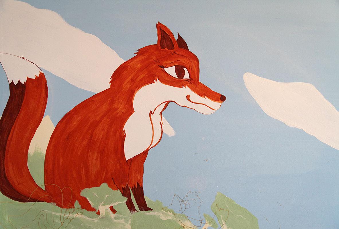 Fuchs Kinderzimmer Wnadgestaltung