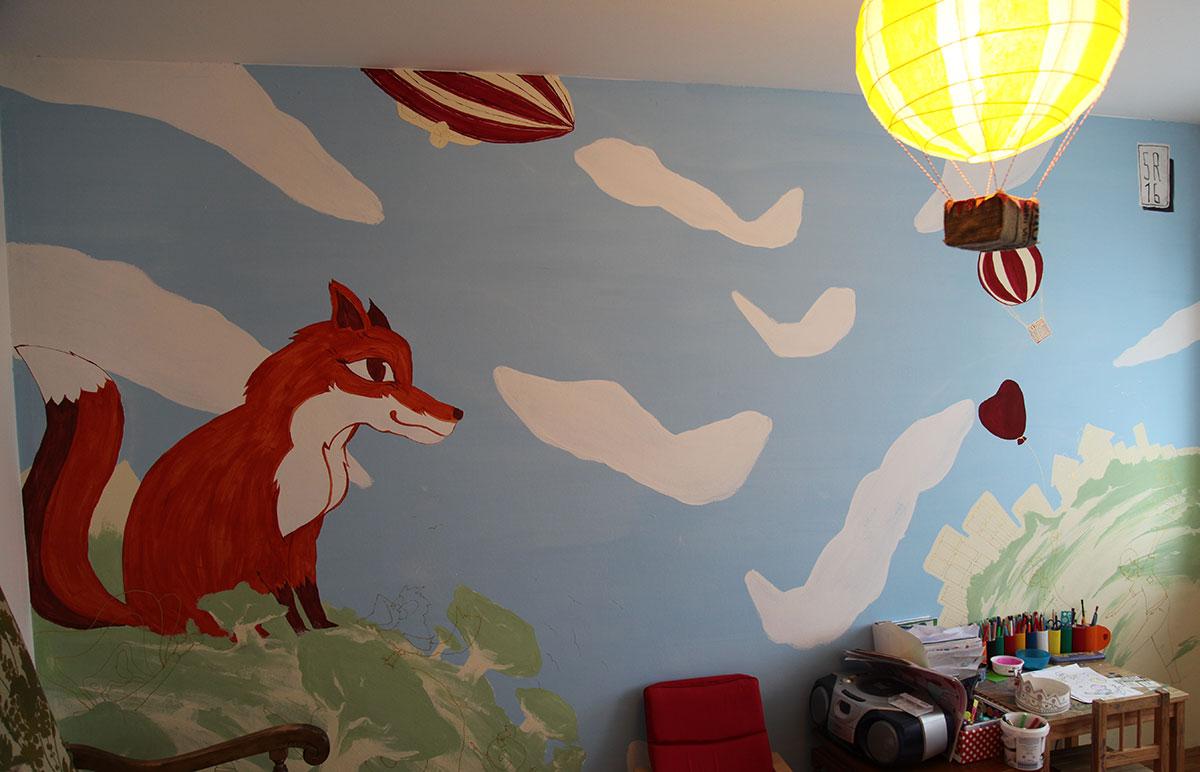 Totale Fuchs wacht über Menschen Kinderzimmer Wnadgestaltung