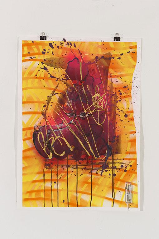 Papierarbeit 50 cm x 70 cm 2016 Ausstellung KunstvereinGRAZ Regensburg