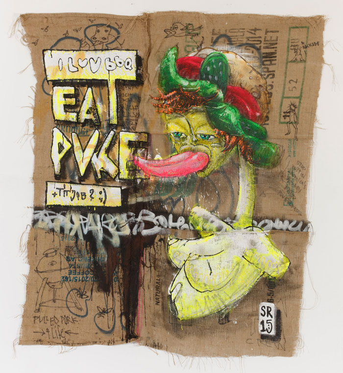 ILoveBBQ - Eat Puke + Tit Job - Sigurd Roscher 2015 - mixed media auf Jute
