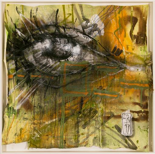 """Ohne Titel - Bildserie """"grün braun orange"""" - mixed media auf verschiedenen Stoffen - 80 cm x 80 cm im Objektrahmen - Sigurd Roscher 2017"""